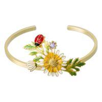 """Bracelet jonc ajustable Laiton Doré """"Jardin Champêtre"""""""