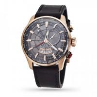 Montre Homme Foxter Avalone bracelet cuir noir, Boîtier Acier PVD Rose et fond gris - FR6043C1BC1