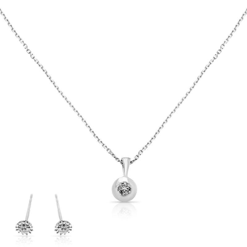 """Parure """"Rond d'Amour"""" Or Blanc et Diamants 0,07 carats"""
