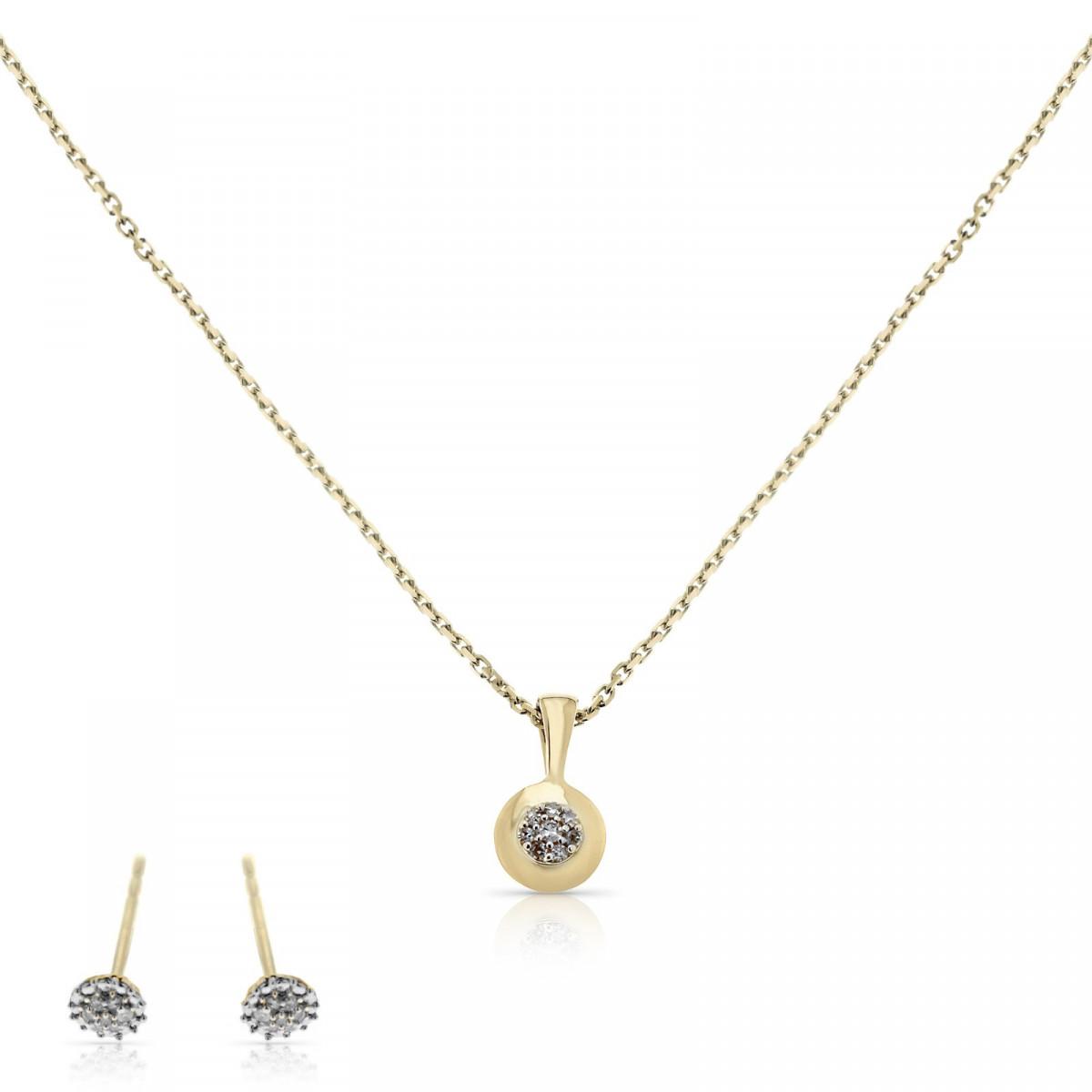 """Parure """"Rond d'Amour"""" Or Jaune et Diamant 0,07 carats"""