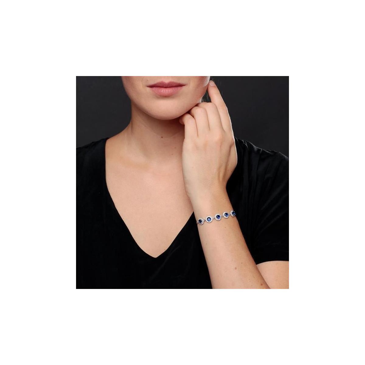 """Bracelet chaine en argent et oxydes de zirconium Bleu """"Ronde Eclatante"""""""