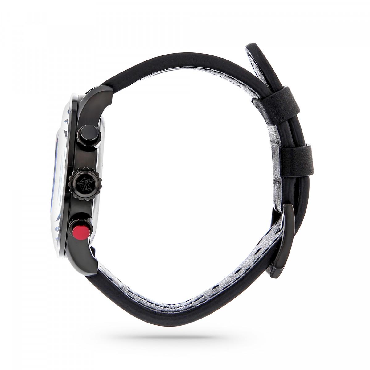 Montre Homme Foxter Avalone bracelet cuir noir, boitier PVD noir et fond noir - FR6041C1BC1
