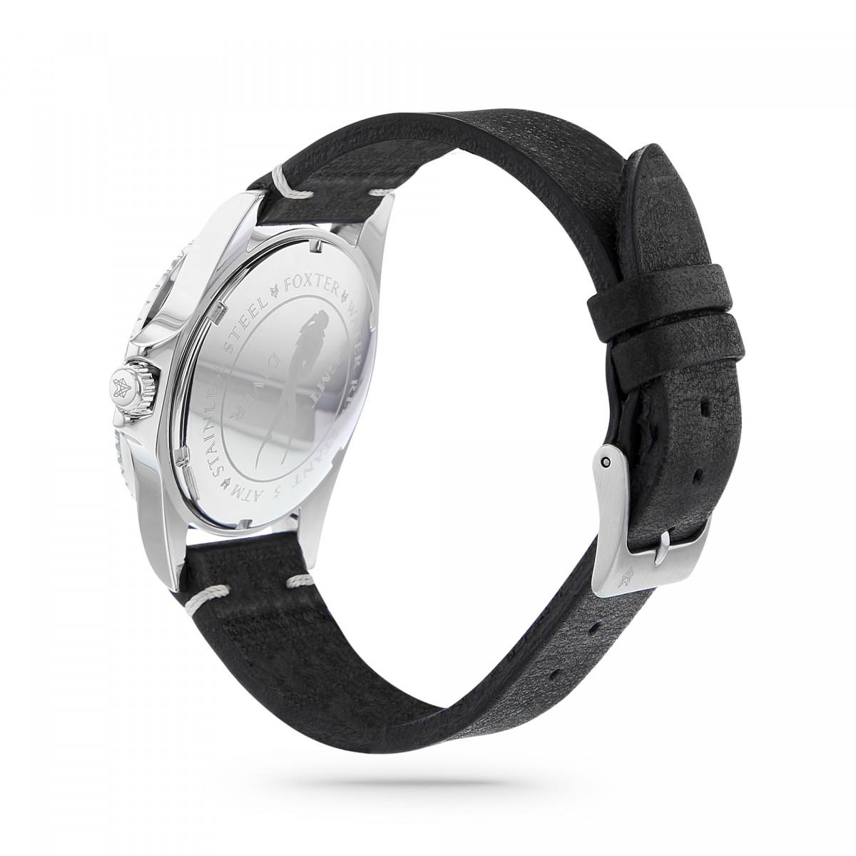 Montre Homme Foxter Sixties bracelet cuir noir, boitier acier et fond noir - SIXTIES3