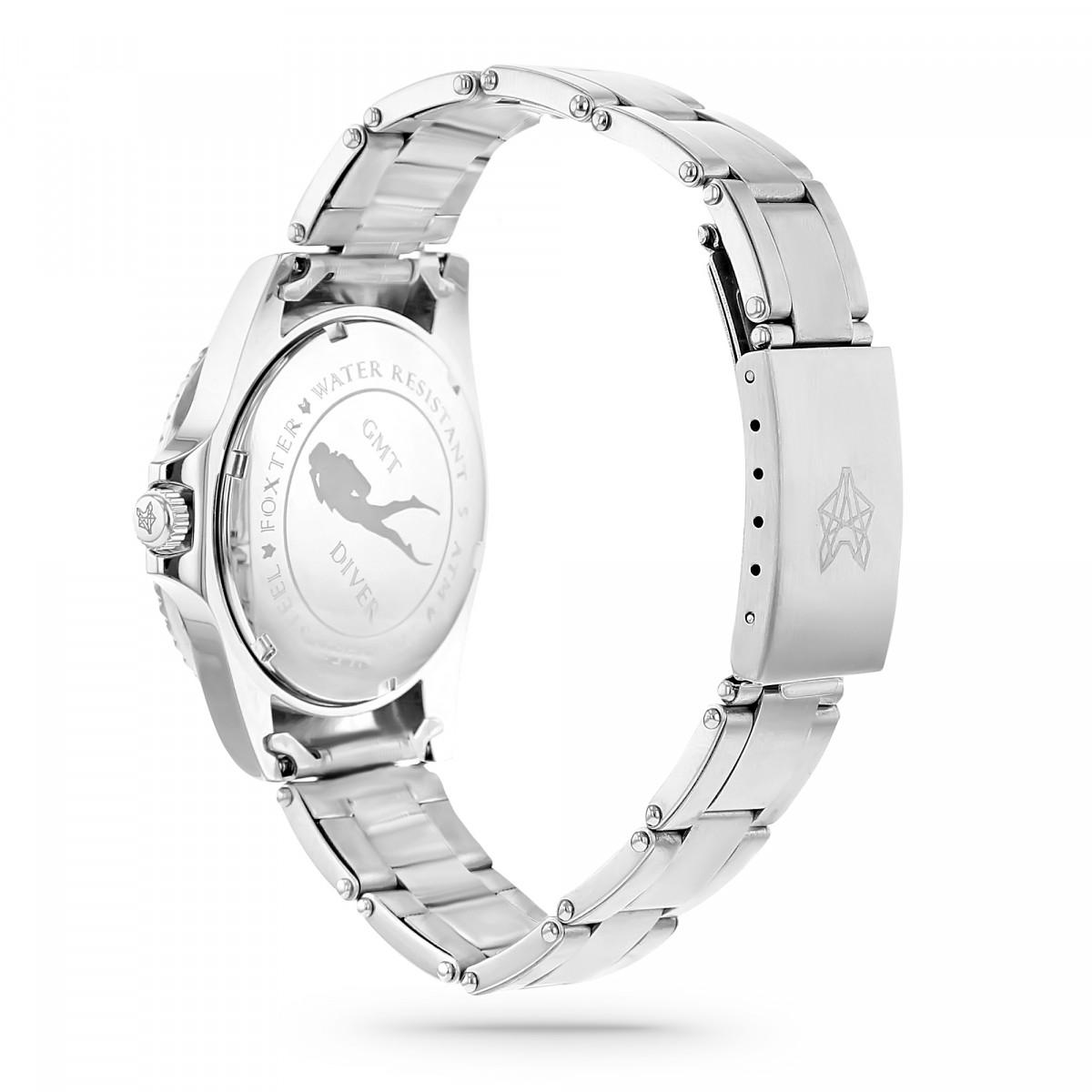 Montre Homme Foxter Sixties bracelet acier, boitier acier et fond noir - SIXTIES9