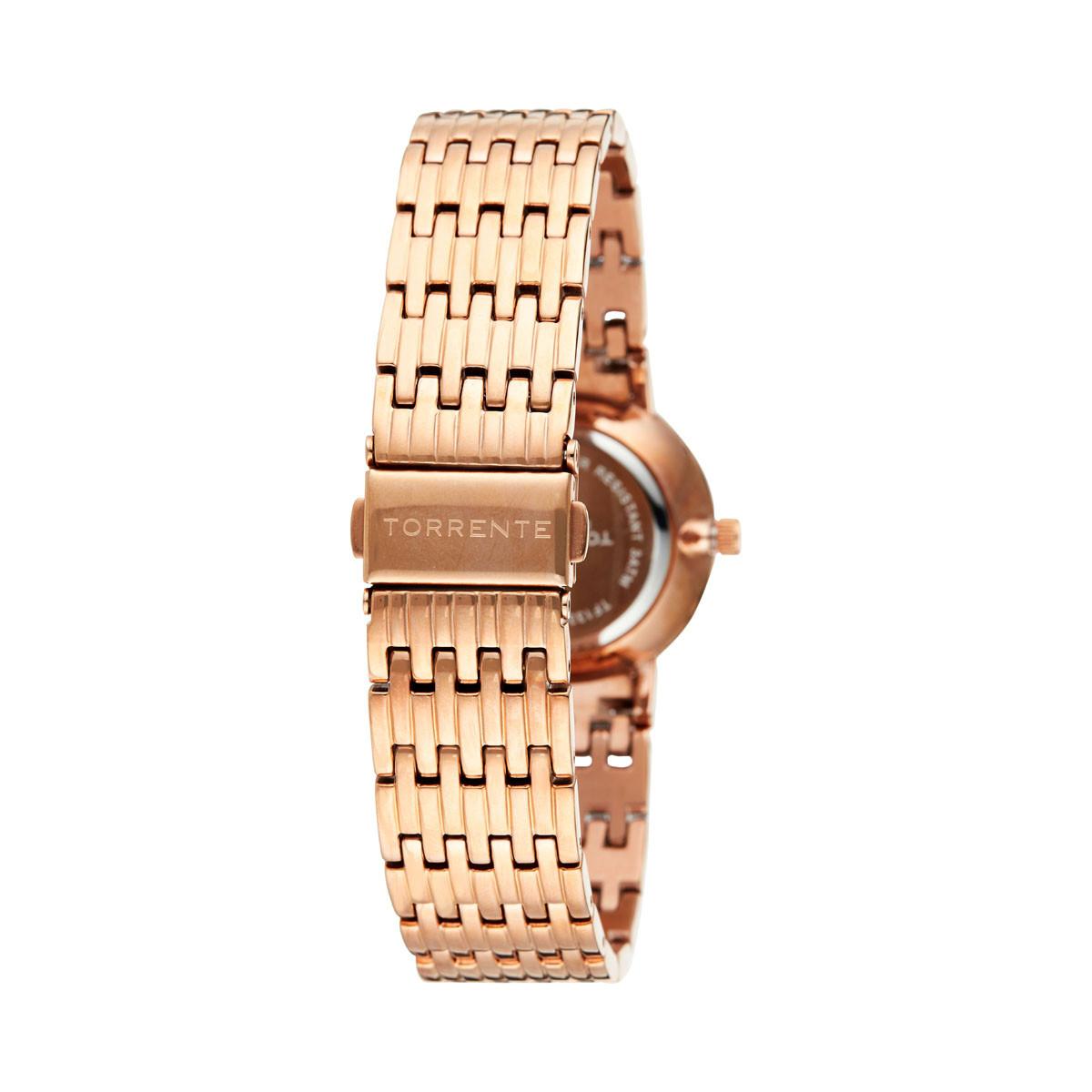"Torrente - Montre ""Allegra"" Cadran Blanc - Boîtier Acier plaqué Or Rose - Bracelet Acier plaqué Or Rose - Diamants 0.01 carats F"