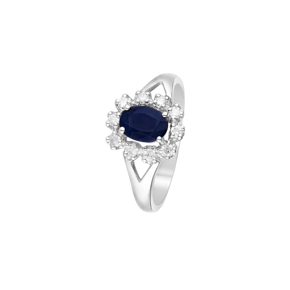 publier des informations sur acheter authentique prix pas cher Bague Or Blanc Diamants 0.21 ct Saphir 1 ct Bahia | Mes-Bijoux.fr