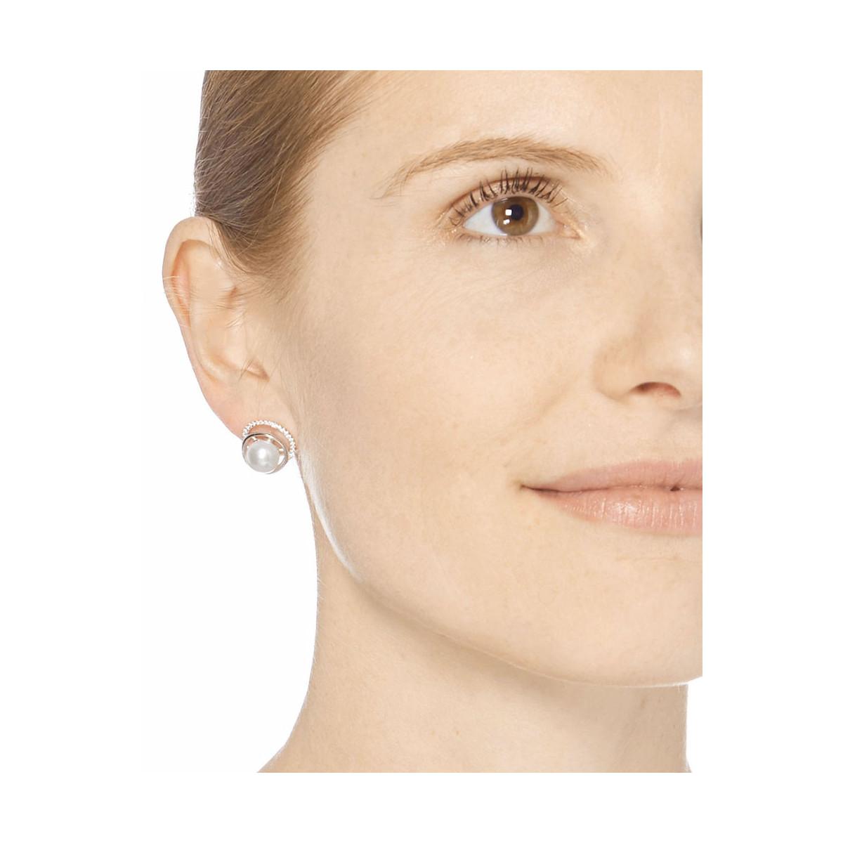 """Boucles d'oreilles argent, oxydes de zirconium et perles de culture blanches """"Voie Perlée"""""""