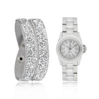 Coffret Montre Femme Céramique Blanche et Bracelet Cristal Argentée