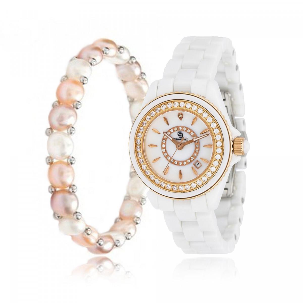 64713e851b8c5 Coffret Montre Femme Céramique et Bracelet Perle | Mes-bijoux.fr