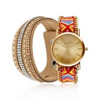 Coffret Montre Muse Multicolor et Bracelet Tissu Cristal