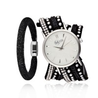 Coffret Montre Muse Femme Argentée et Bracelet Cristal Noir