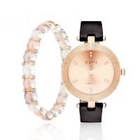 Coffret Montre Muse Femme Métal Rosée et Bracelet Perle