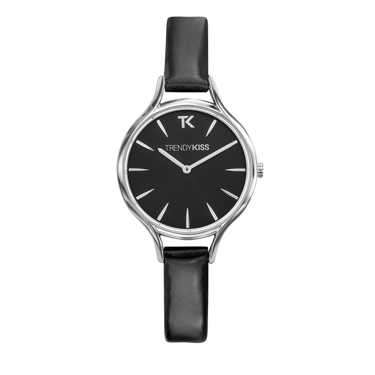 072477be4b Trendy Kiss – TC10093-02 – Montre femme – Analogique – Boitier rond en  métal argenté – Cadran noir soleillé – Bracelet en cuir véritable noir  vernis