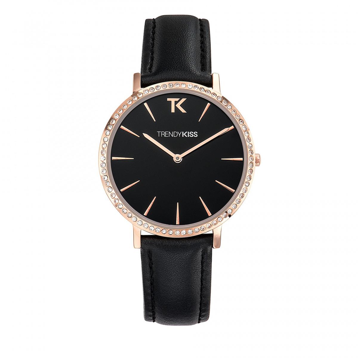 0a76f13052 Trendy Kiss – TG10090-02B – Montre femme – Analogique – Boitier rond en  métal doré rose et strass – Cadran noir mat – Bracelet en cuir véritable  rose pastel
