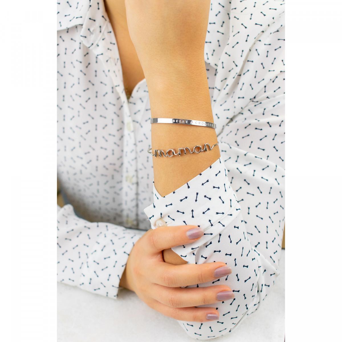 """""""BELLE A CROQUER"""" bracelet jonc argenté à message"""