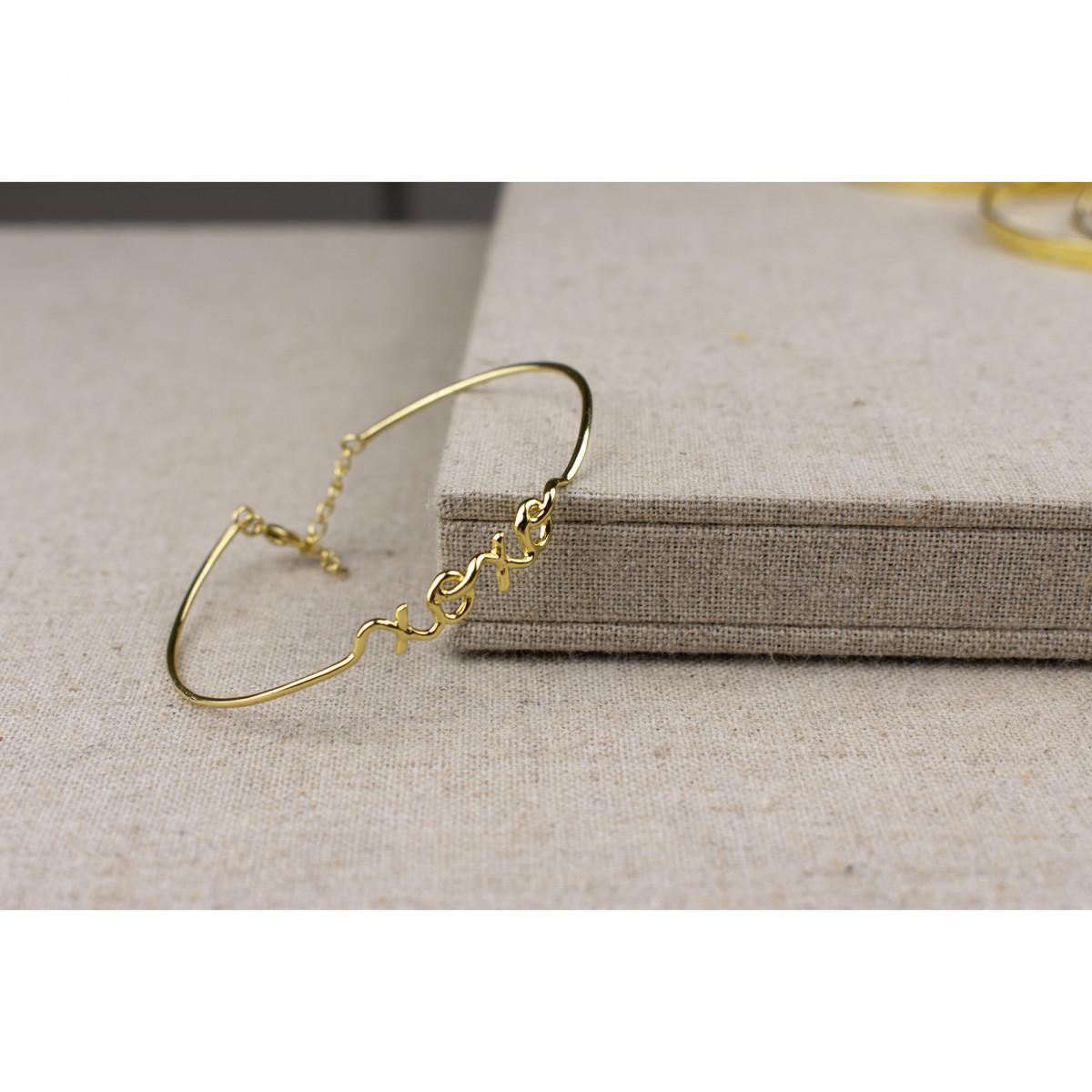 """""""XOXO"""" Bracelet jonc en fil lettering doré à message"""