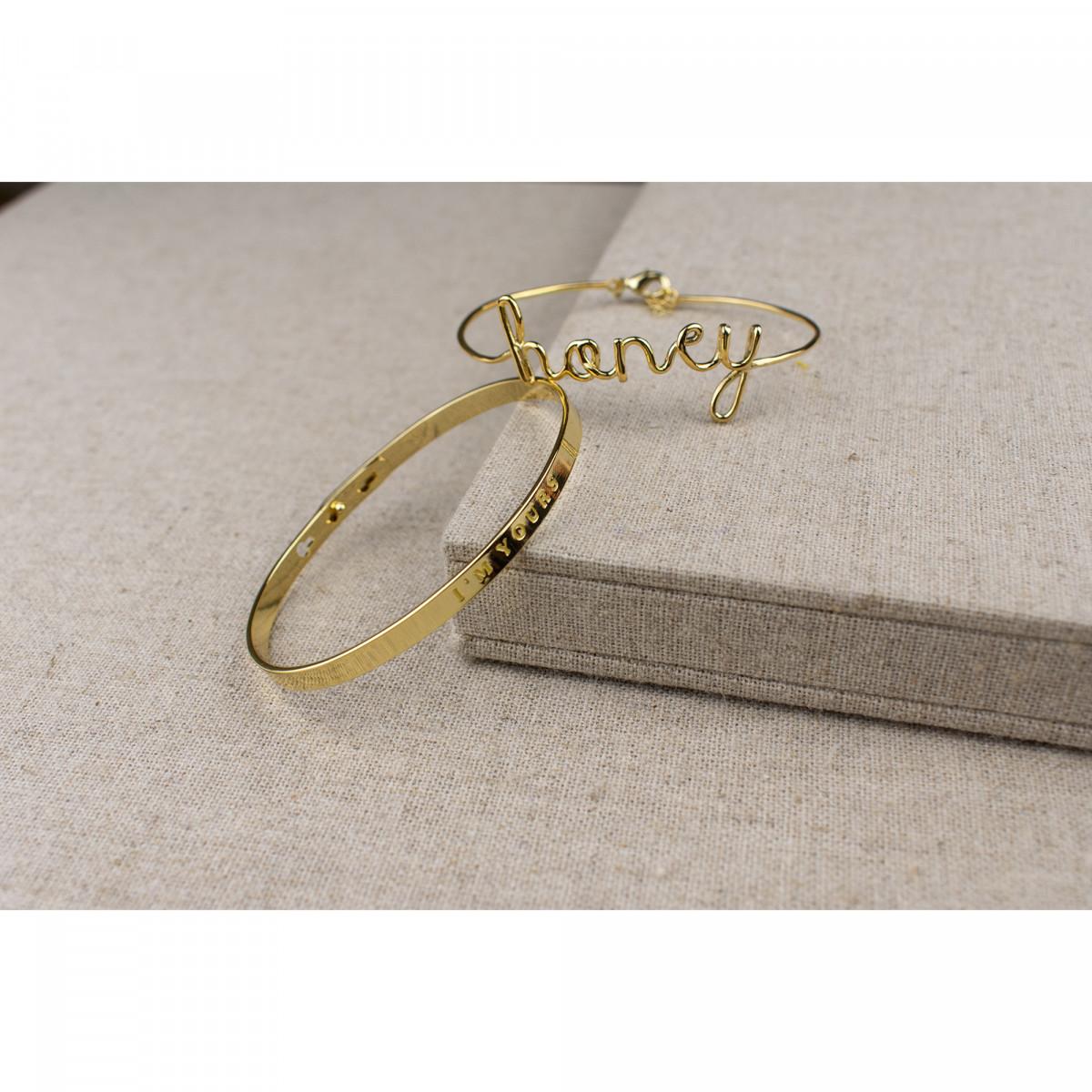 """""""I'M YOURS"""" bracelet jonc doré à message"""