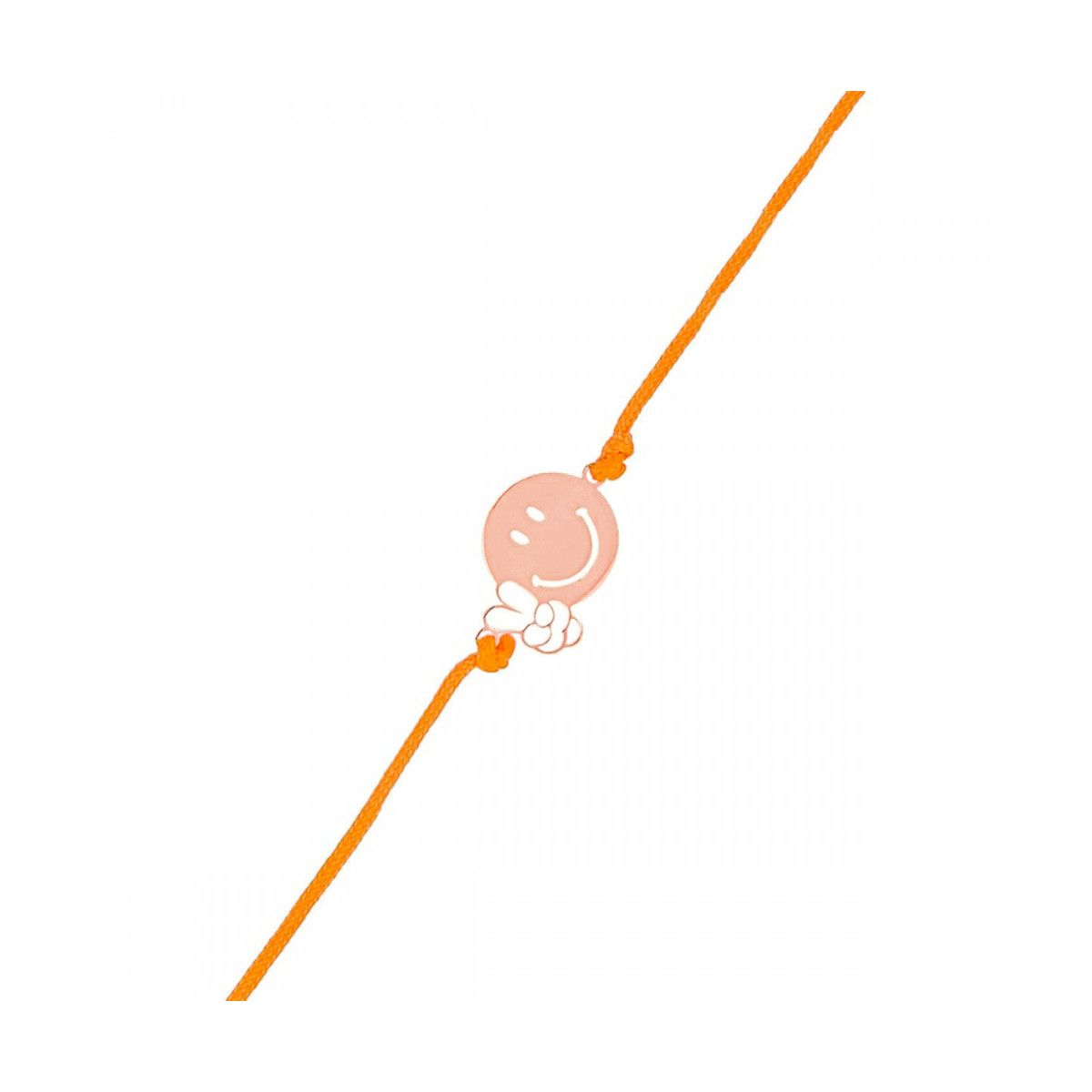 "Bracelet Smiley vermeil rose et cordon orange ""Relax"""