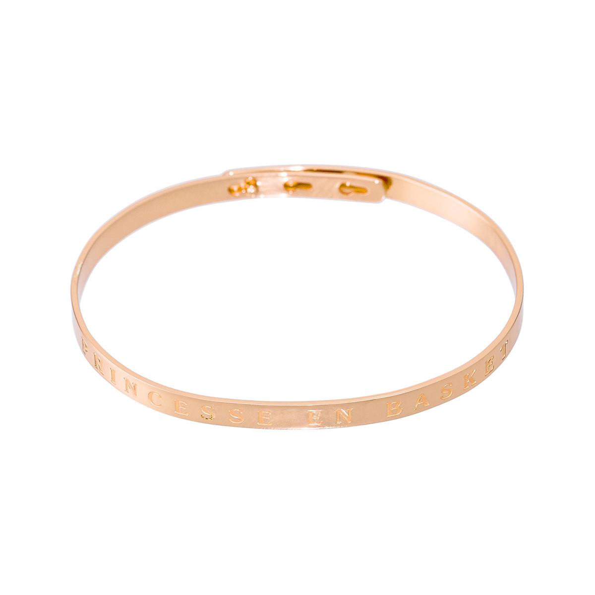 """Bracelet Jonc à message laiton rosé """"PRINCESSE EN BASKET"""""""
