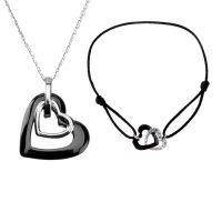 """Parure Céramique """"Double Coeur"""" Bracelet + Collier"""