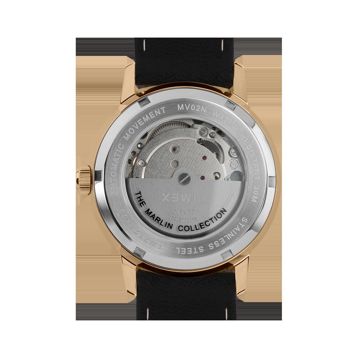 """Montre Homme Timex """"Marlin Automatique"""" Boîtier SST 40mm en Acier Doré Cadran Noir - TW2T22800"""
