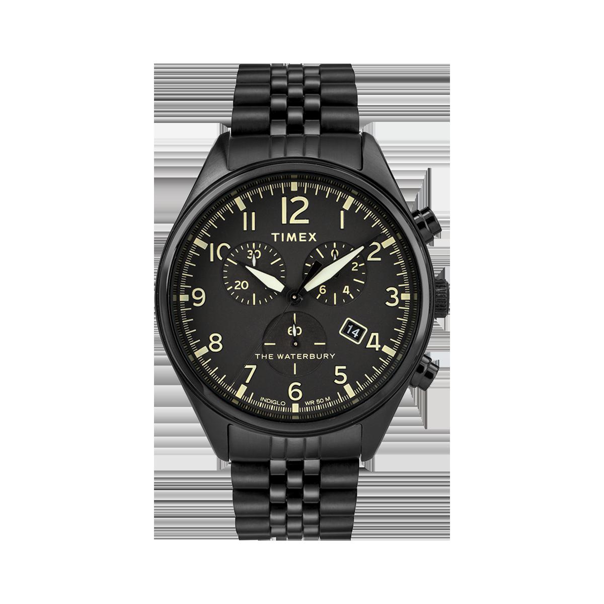 """Montre Homme Timex """"Waterbury Traditional Chrono"""" Boîtier 42mm et Bracelet en Acier Noir  - TW2R88600"""