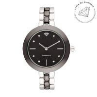 Montre Femme Valentine Diamants 0,024 carats - Cadran noir Bracelet métal argenté