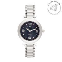 Montre Femme Lola Diamants 0,024 carats - Cadran noir Bracelet métal argenté
