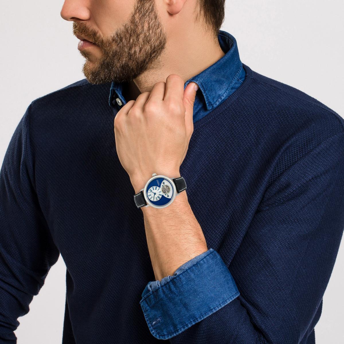 """Torrente - Montre """"New York"""" Cadran Bleu - Boîtier Acier - Bracelet Cuir Noir - Homme"""