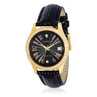 """Torrente - Montre """"Classica"""" Cadran Noir - Boîtier Acier plaqué Or Jaune - Bracelet Cuir Noir - Diamants 0.01 carats Femme"""