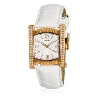 """Torrente - Montre """"Allure"""" Cadran Blanc - Boîtier Acier Plaqué or Rose - Bracelet Cuir Blanc - Diamants 0.01 carats Femme"""