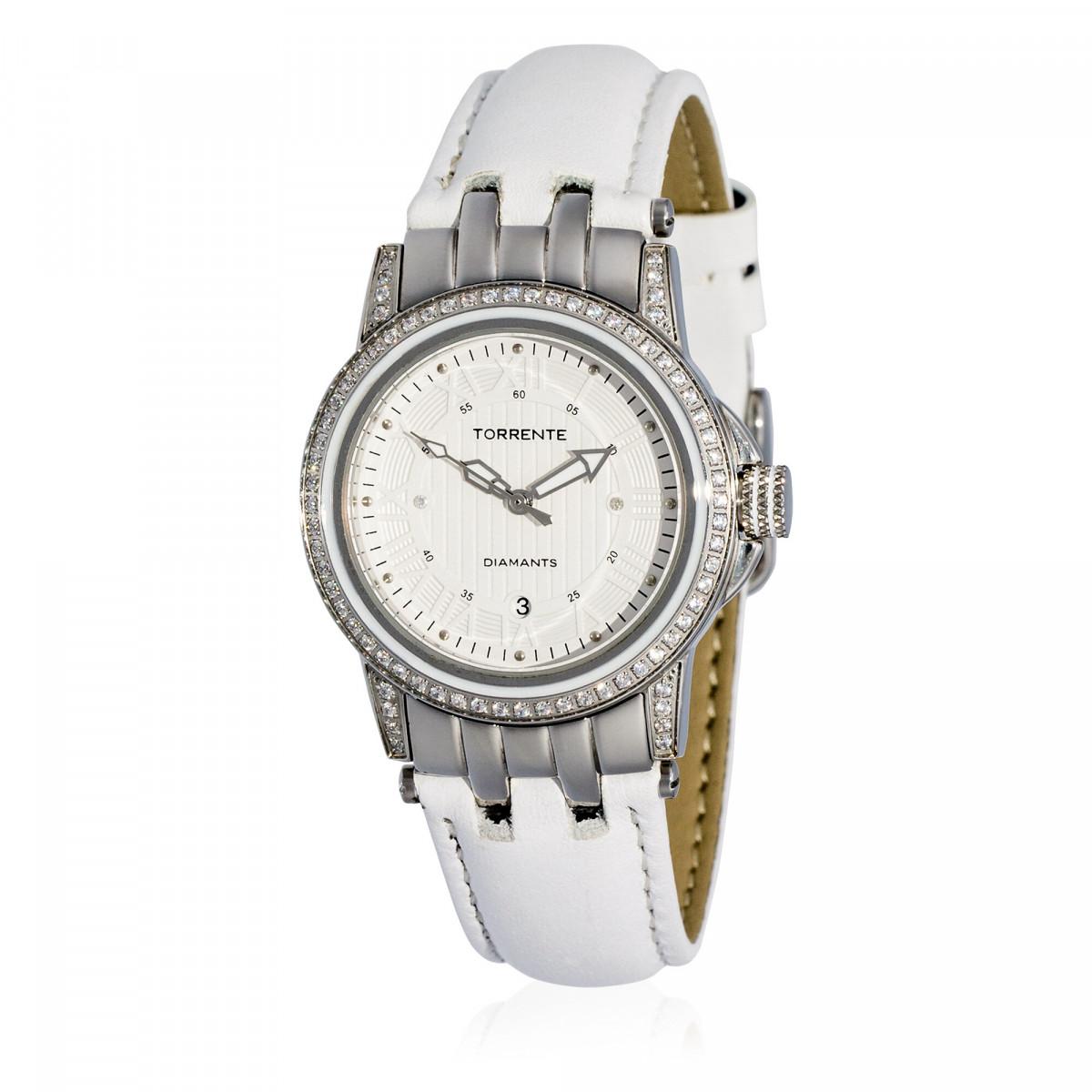 """Torrente - Montre """"Magnetic"""" Cadran Blanc - Boîtier Acier - Bracelet Cuir Blanc - Diamants 0.01 carats Femme"""