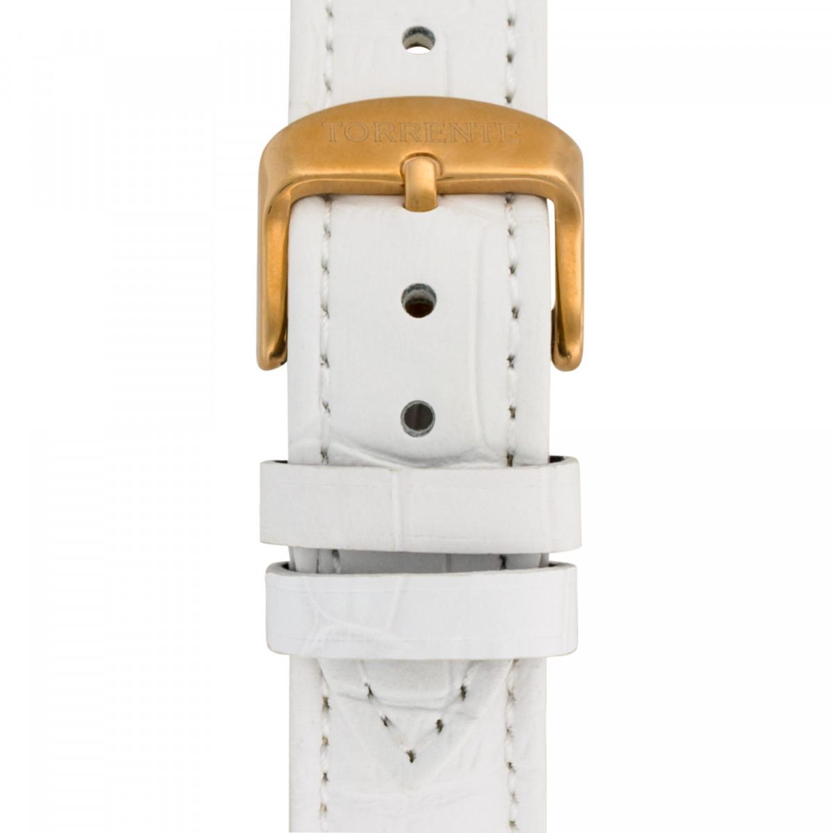 """Torrente - Montre """"Fortuna"""" Cadran Blanc - Boîtier Acier plaqué Or Rose - Bracelet Cuir Blanc - Diamants 0.01 carats Femme"""
