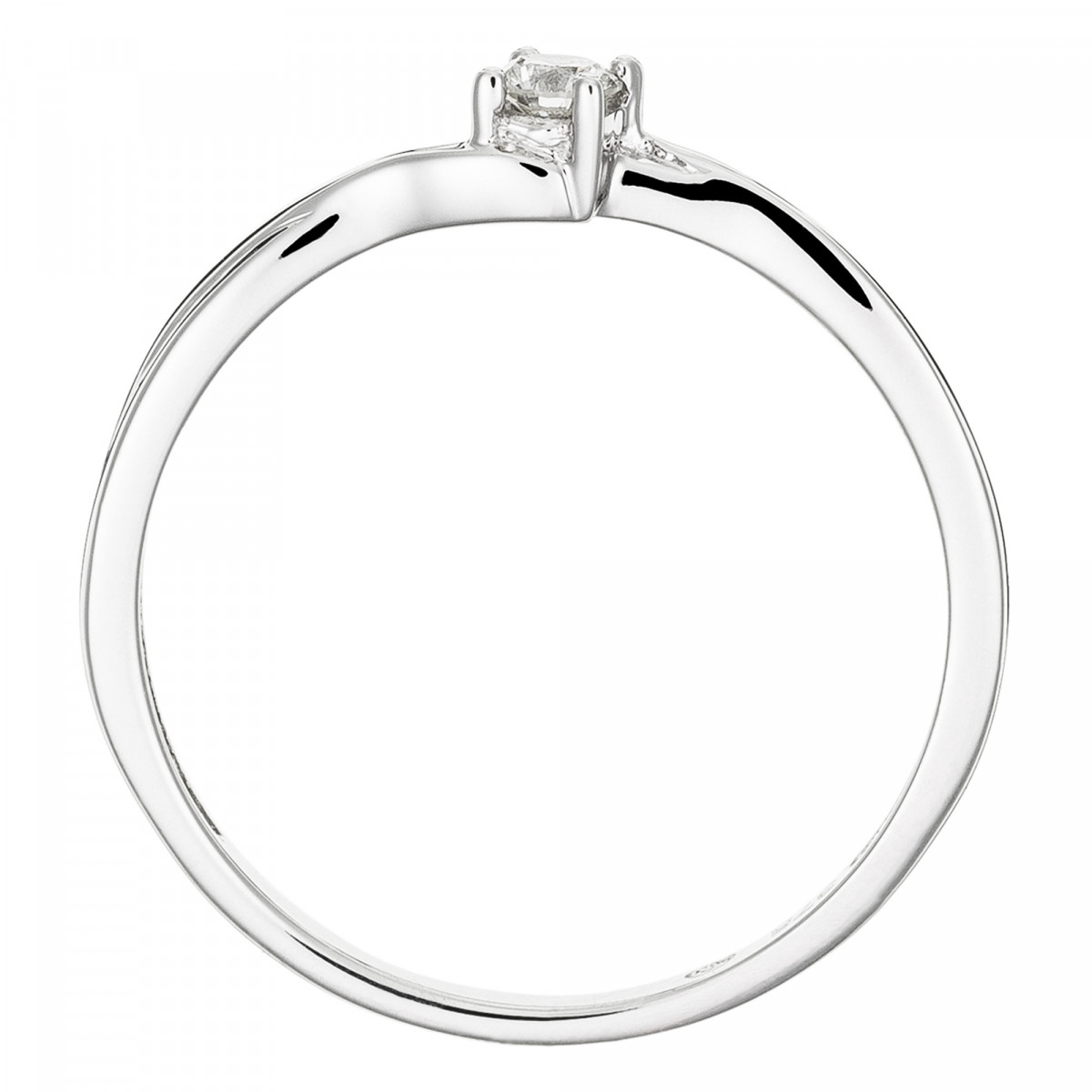 "Solitaire Or Blanc 375 ""TOURBILLON"" Diamants 0,1 carat"
