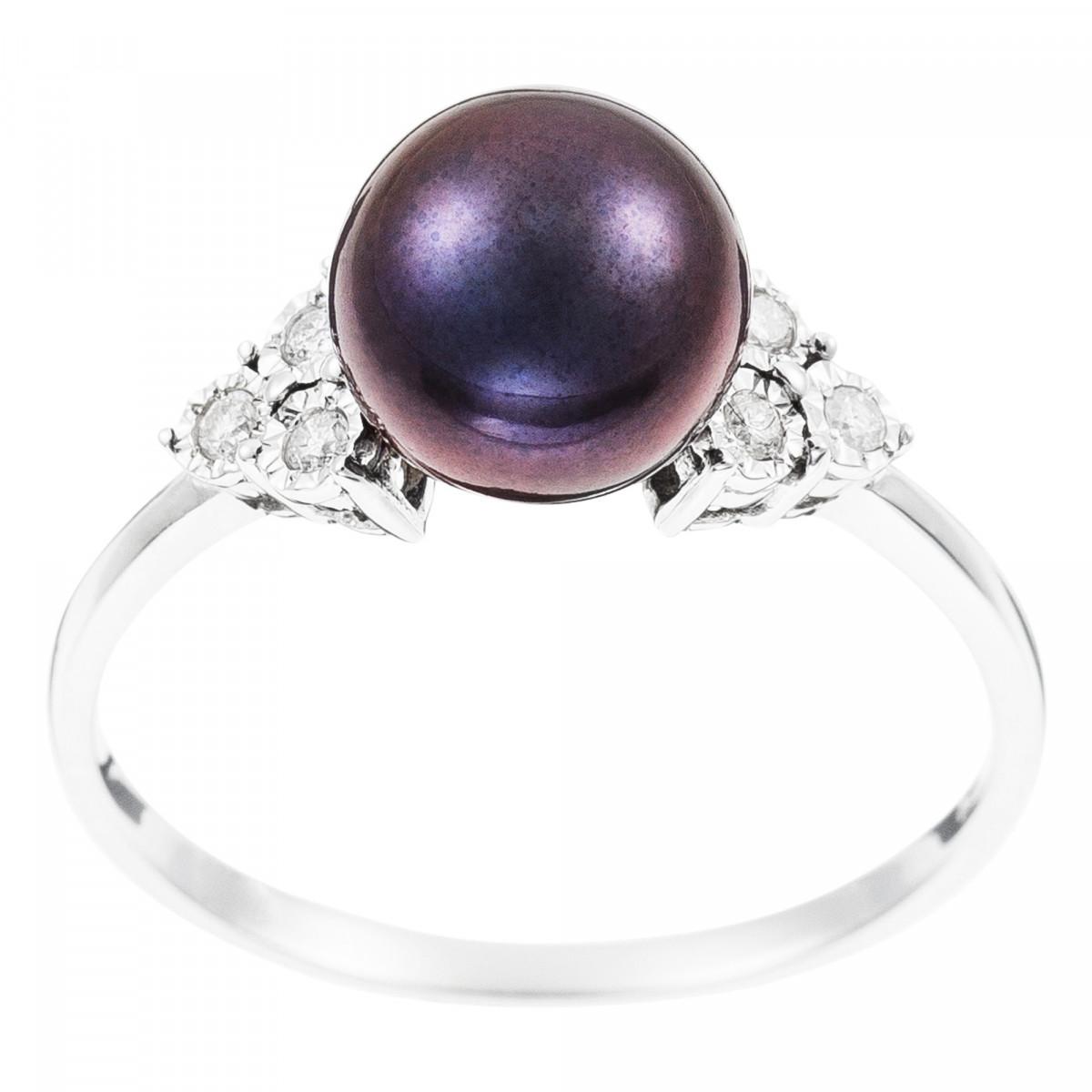 "Bague Or Blanc 375 ""TRIANGLE&PEARL"" Diamants 0,07 carat et Perle"