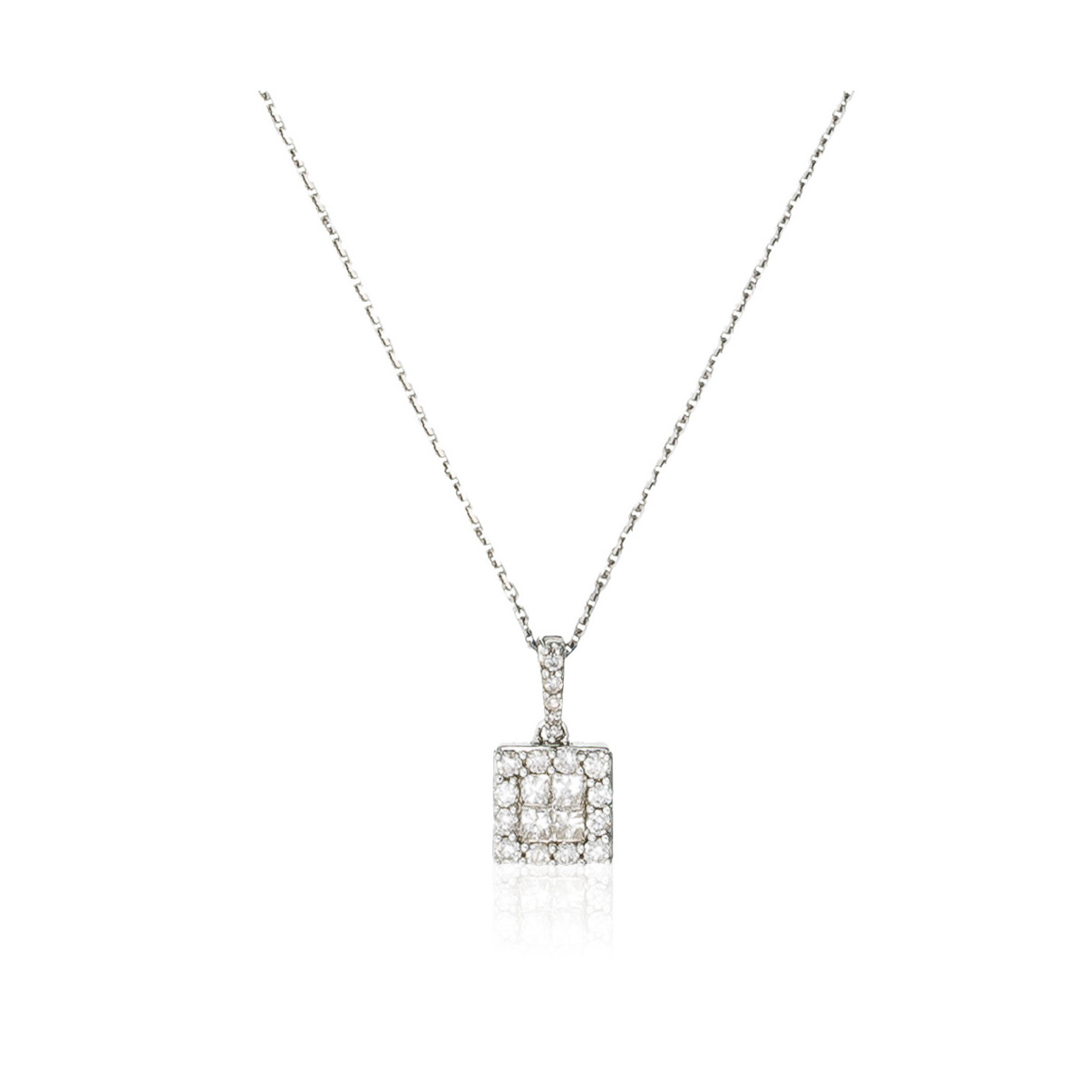 "Pendentif Or Blanc 375 ""CARRÉ"" Diamants 0.33 cts"
