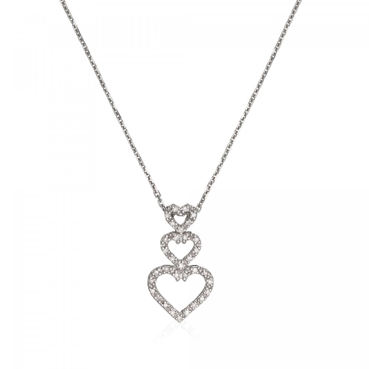 "Pendentif Or Blanc 375 ""GRANDIOSE"" Diamants 0.11 cts"