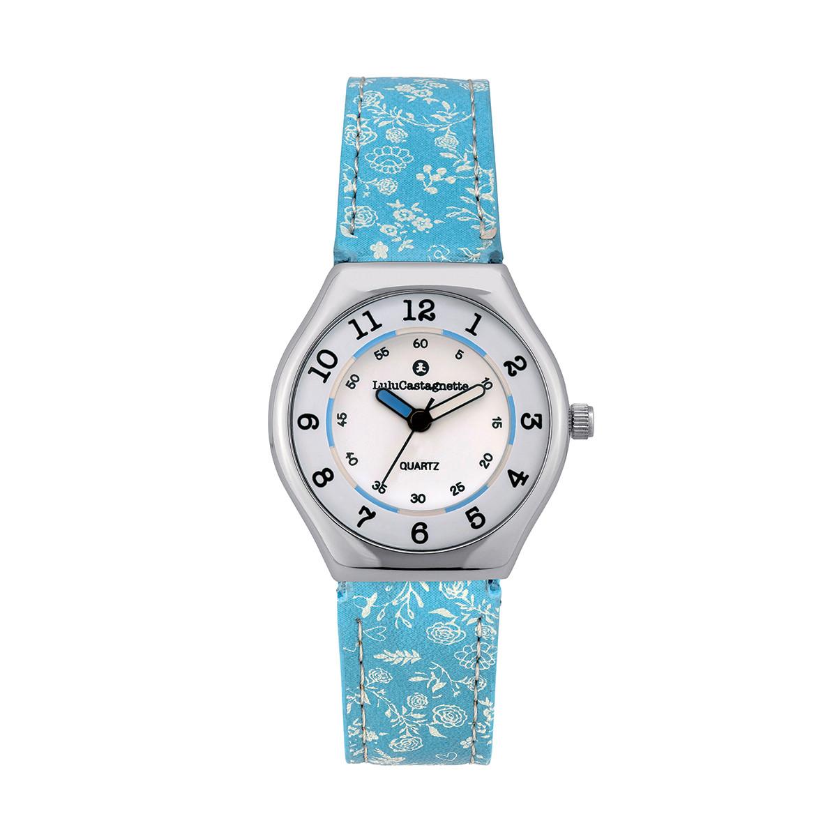 Montre Fille LuluCastagnette Mini Star  bracelet bleu motif floral - 38876