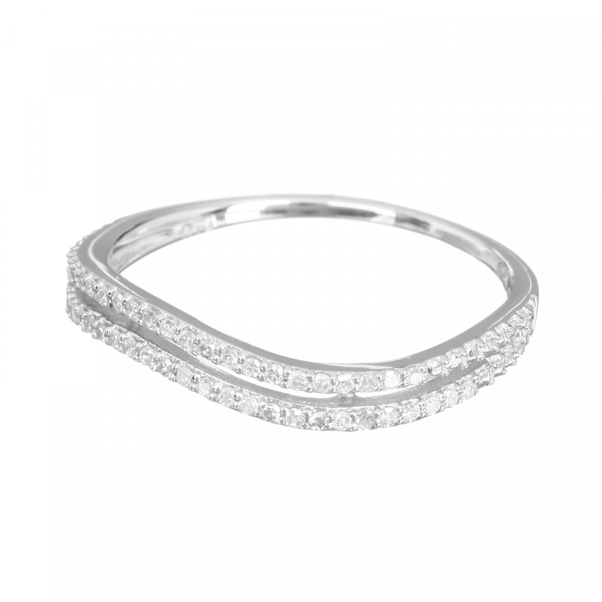 "Bague Or Blanc 375 ""ONDES LUMINEUSES"" Diamants 0,21 carat"