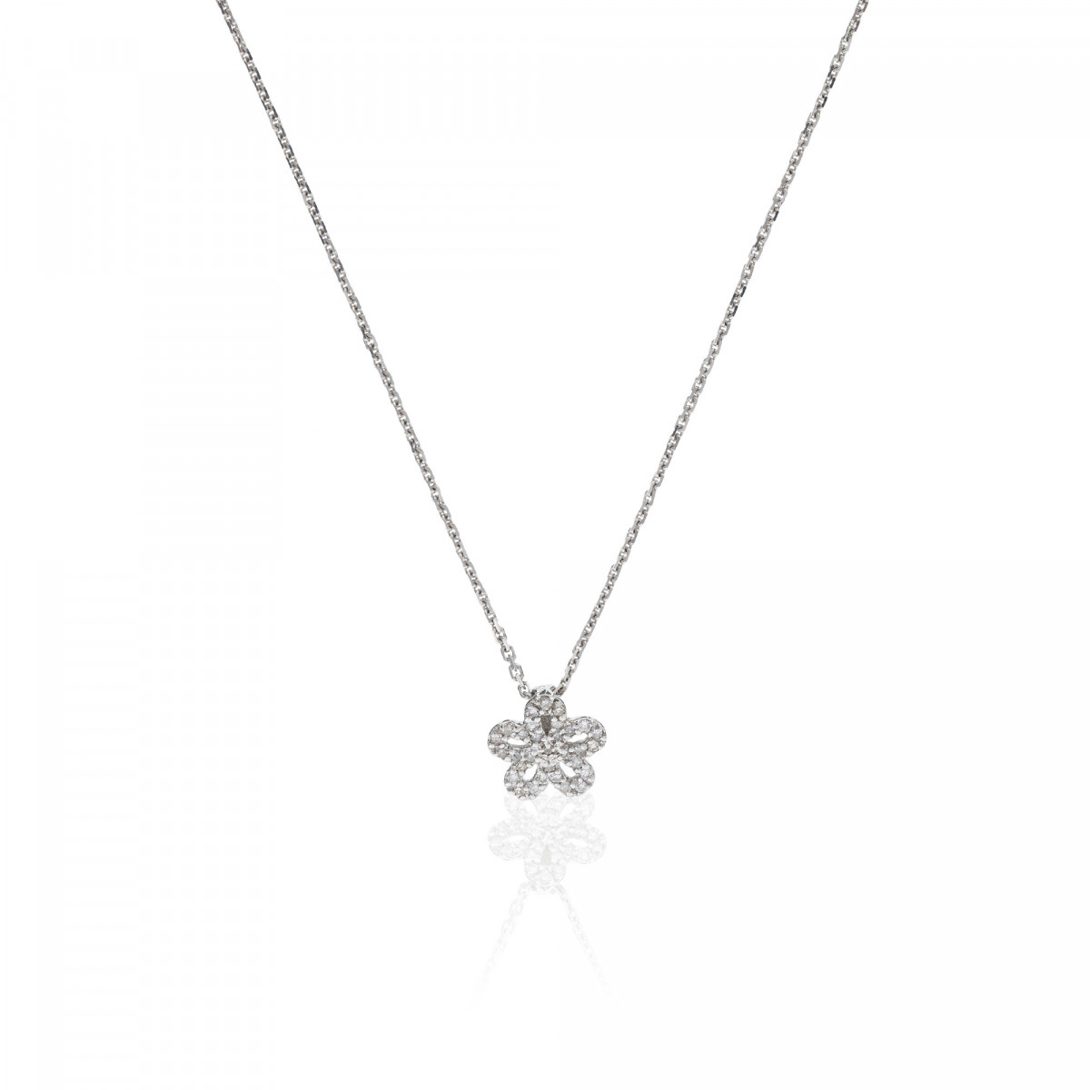 "Pendentif Or Blanc ""LILLY"" Diamants 0,09 carat + chaine argent offerte"