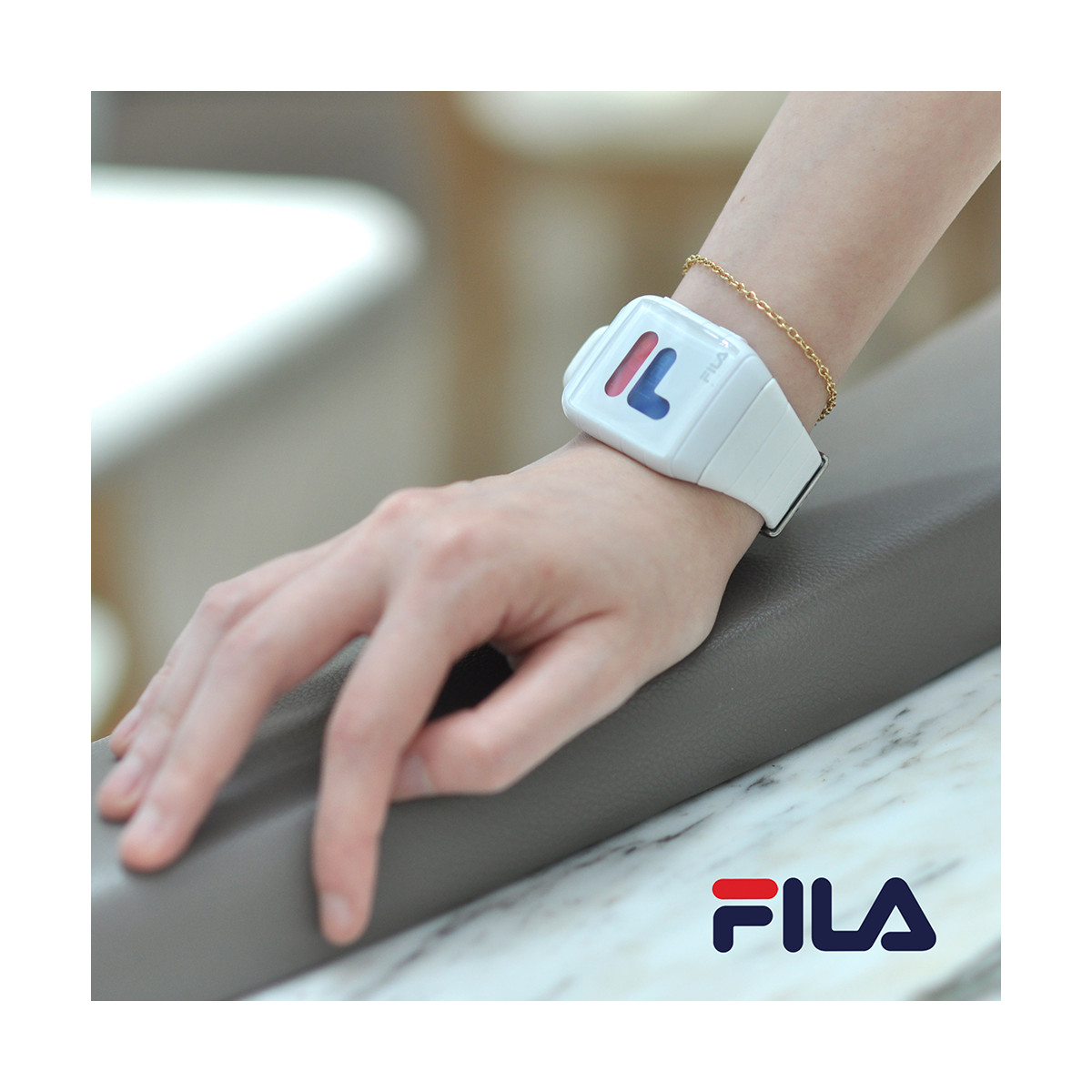 Fila Montre Mixte Digital Silicone Blanc 38 105 001