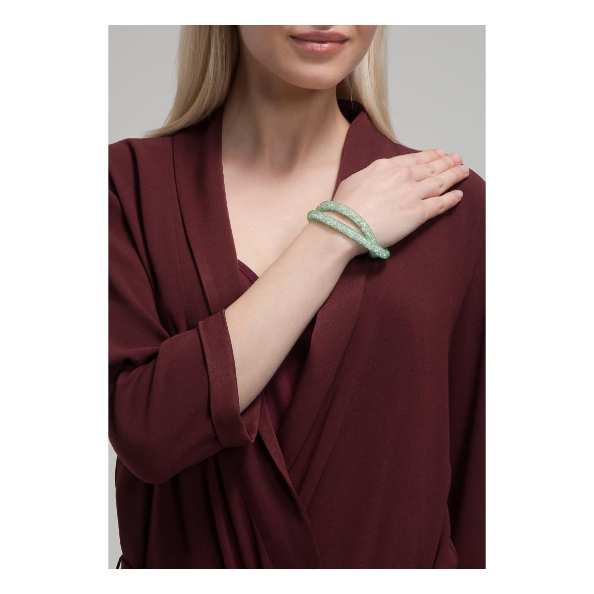 """Bracelet double """"Poudre d'étoiles Vert D'eau"""" en maille de résine vert d'eau et cristaux blanc"""