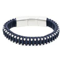 """Bracelet Homme acier et cuir bleu marine """"OLIVER"""""""