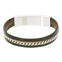"""Bracelet Homme acier et cuir vert foncé """"GREEN LIGHT"""""""