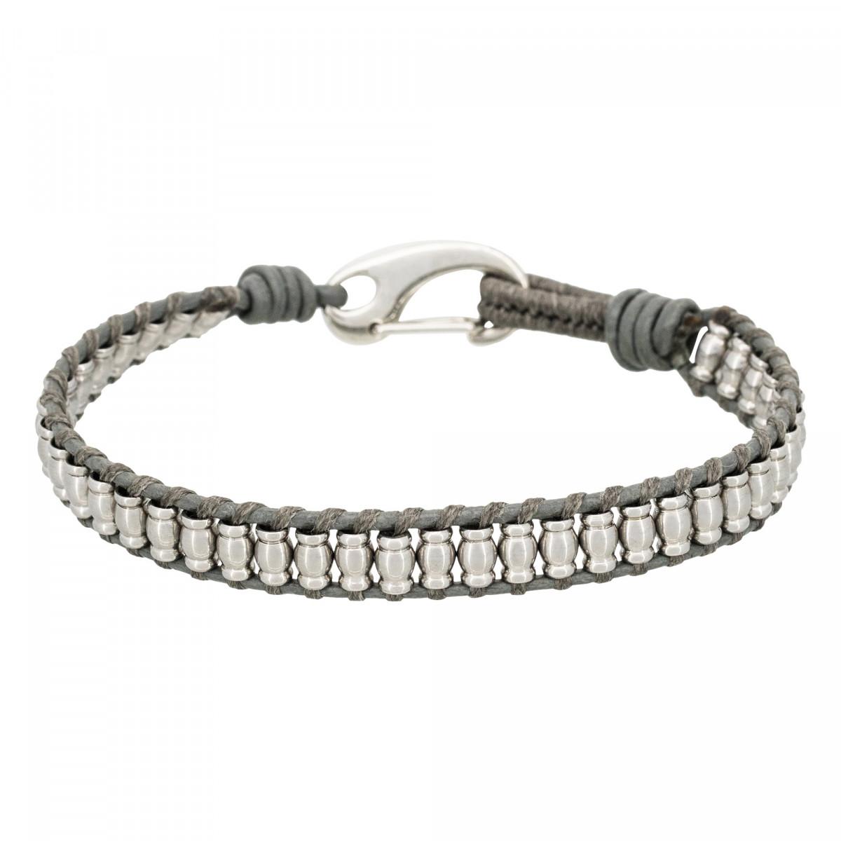 """Bracelet Homme acier et cuir gris """"GREY WAX CORD"""""""