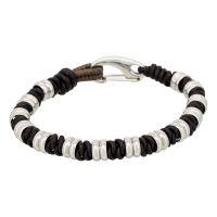 """Bracelet Homme acier et cuir marron """"EDDY"""""""