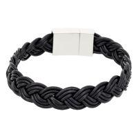 "Bracelet Homme cuir noir ""BLACK LEATHER BRAID"""