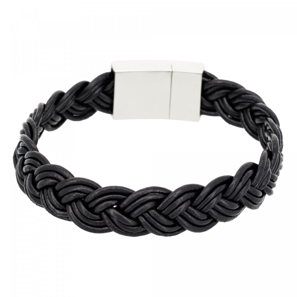 "Bracelet Homme cuir noir ""BLACK LEATHER BRAID"""