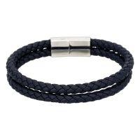 """Bracelet Homme double tour cuir noir """"HOOKS"""""""