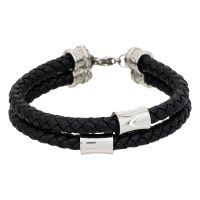 """Bracelet Homme double tour cuir noir """"STAN"""""""